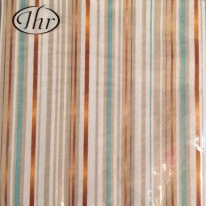 Turquoise and Metallic Copper Stripe - Lunch Napkin