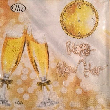 """Happy New Year"" - Paper Lunch Napkin -  Paper Napkin - Ideal Home Range - Putti Fine Furnishings Toronto Canada"