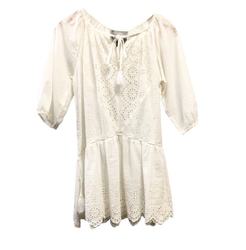 "Summer of Love ""Magda"" White Eyelet Top"