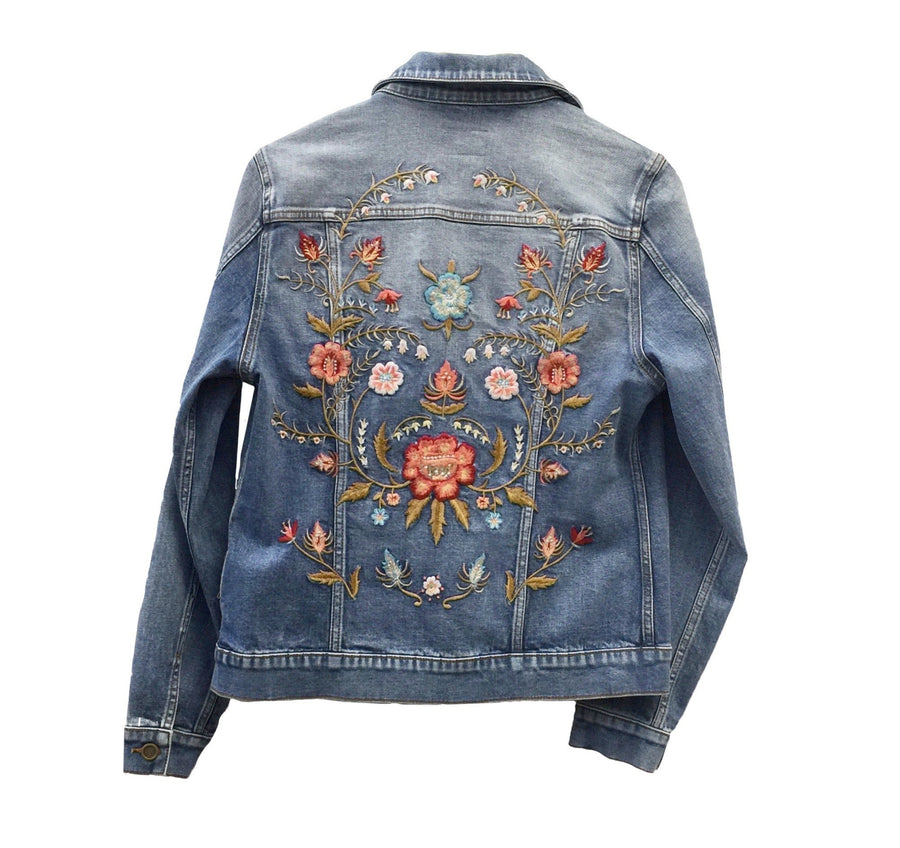 "Driftwood ""Geena"" Hand Embroidered Jean Jacket, DW-Driftwood, Putti Fine Furnishings"