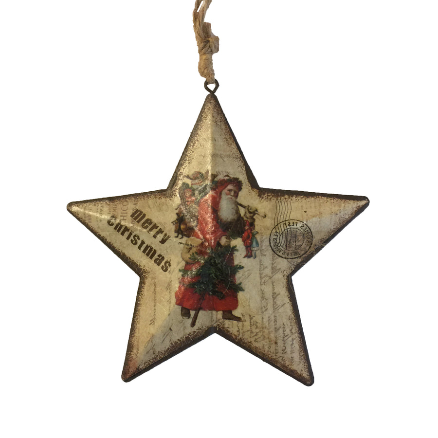 Tin Vintage Santa Star Ornament