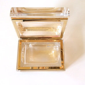 Alessandro Mandruzzato Small Rectangular Murano Glass Box in Gold