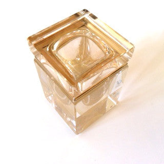 Alessandro Mandruzzato Small Square Murano Glass Box in Gold-Venetian Glass-Alessandro Mandruzzato-Putti Fine Furnishings