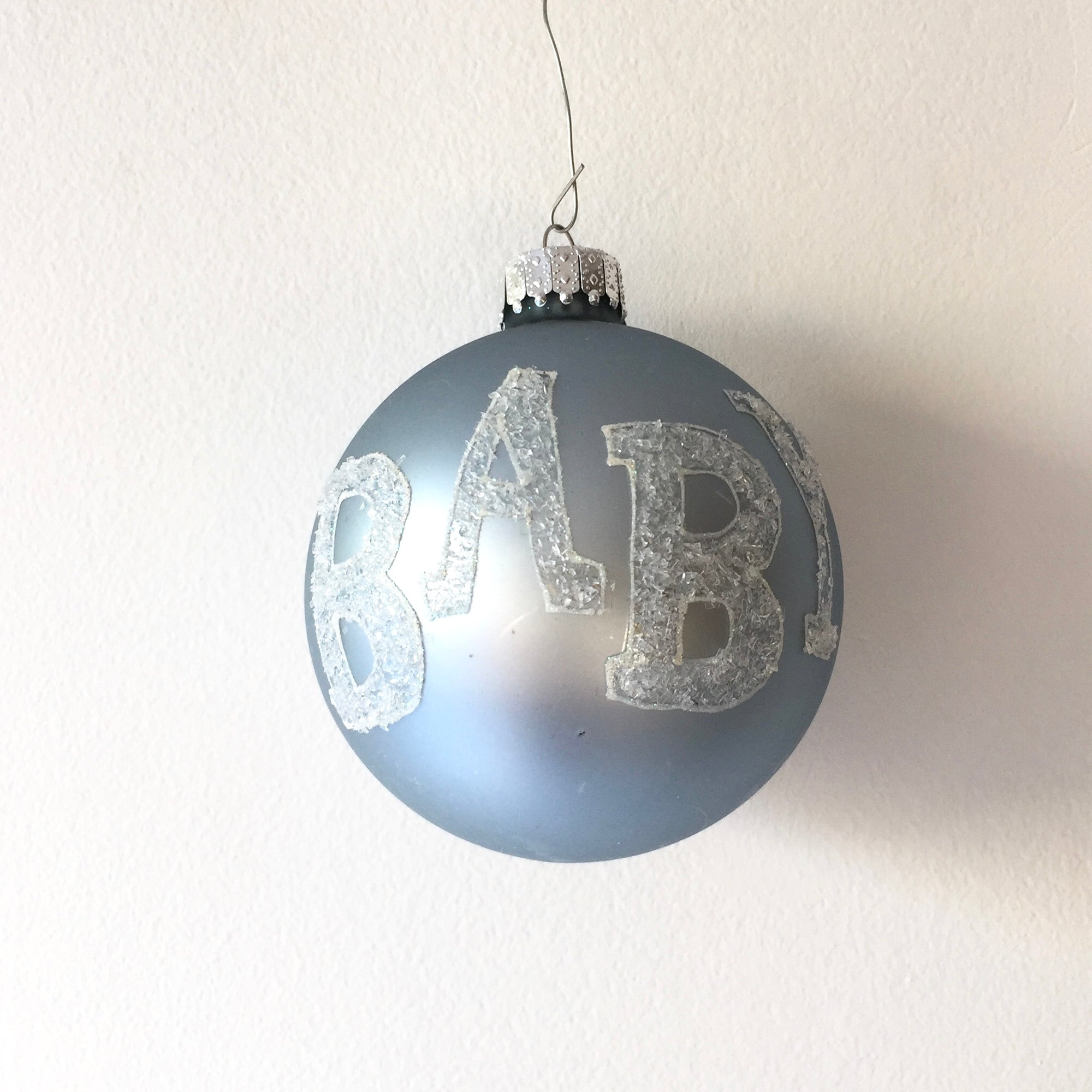 """Baby"" Glass Ball Christmas Ornament - Blue"