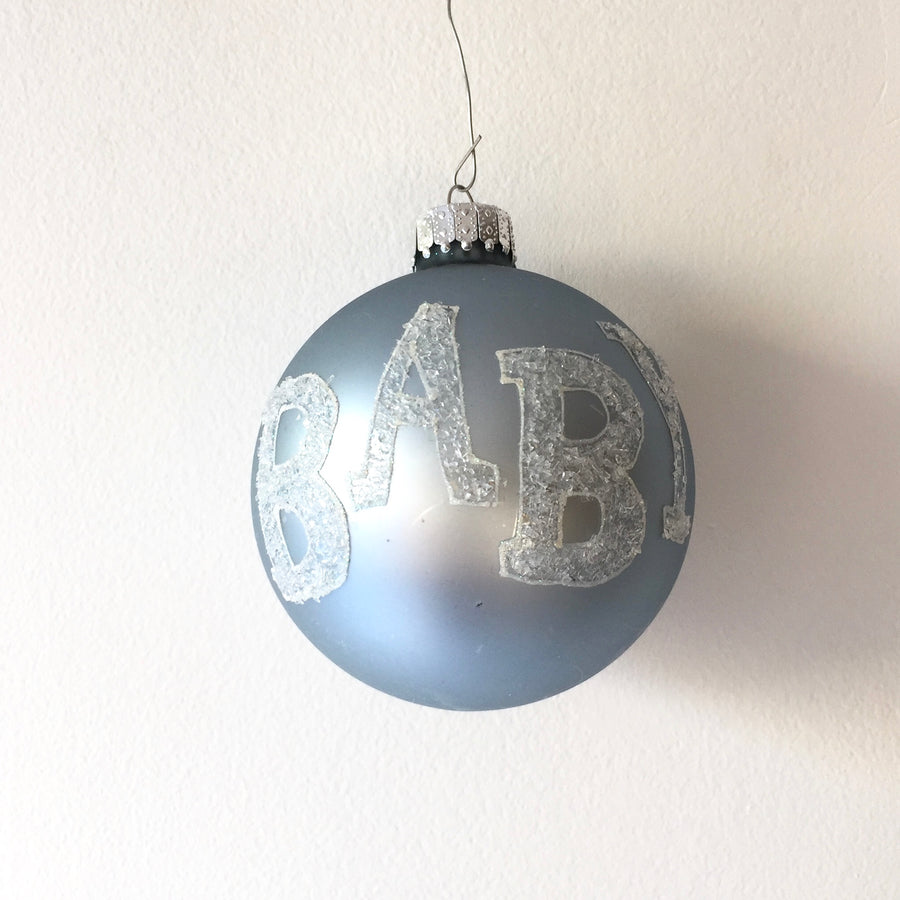 """Baby"" Glass Ball Ornament - Blue, CT-Christmas Tradition, Putti Fine Furnishings"