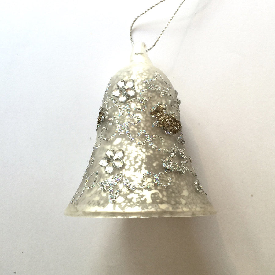Mottled Silver Bell Ornament with Gold and Silver Detailing