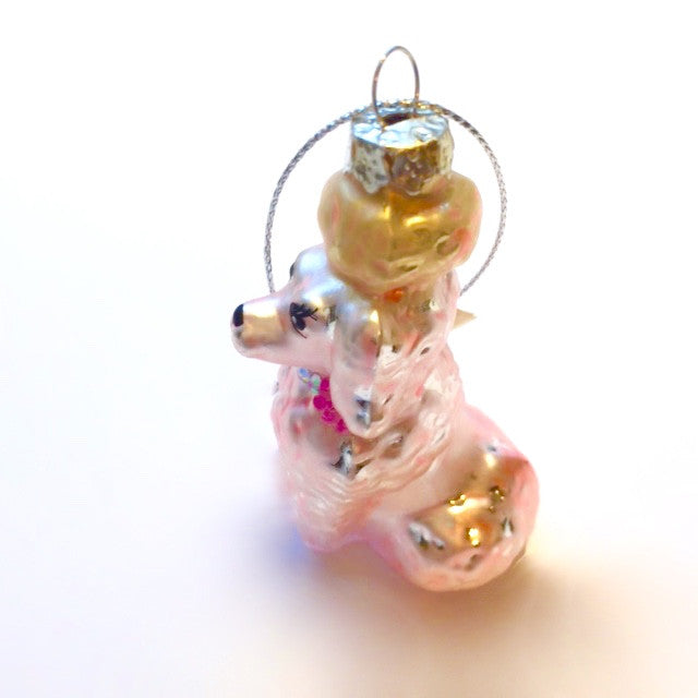 Pink Poodle Glass Ornament -  Christmas - AC-Abbot Collection - Putti Fine Furnishings Toronto Canada