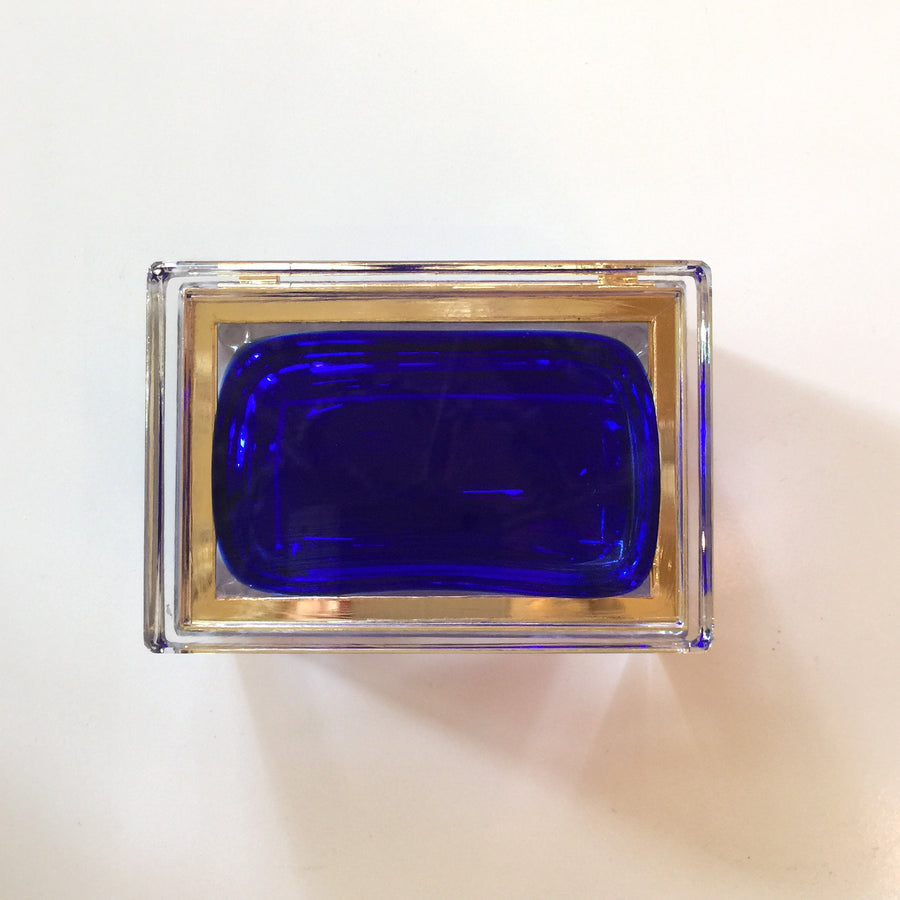 Alessandro Mandruzzato rectangular Murano Cobalt Blue Glass Box