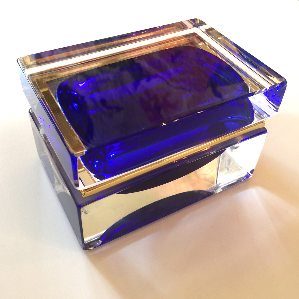 Alessandro Mandruzzato rectangular Murano Cobalt Blue Glass Box-Venetian Glass-Alessandro Mandruzzato-Putti Fine Furnishings