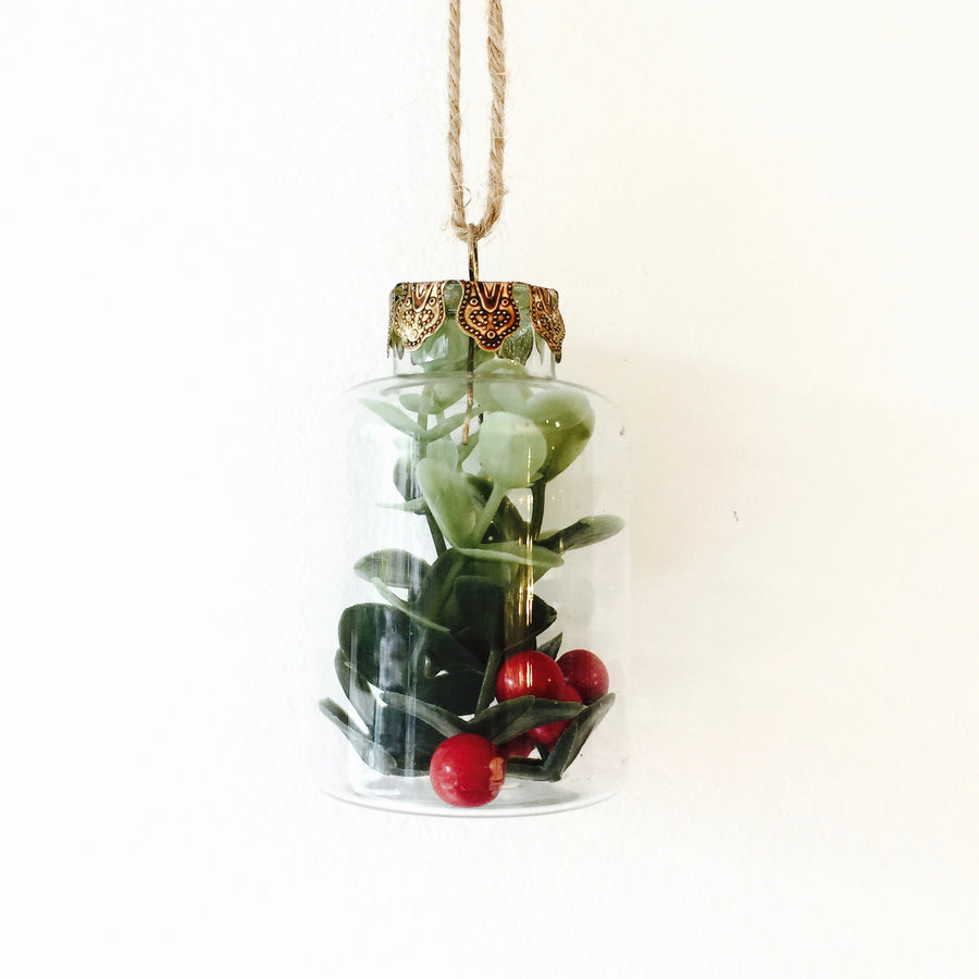 Glass Bottle Ornament with Berries
