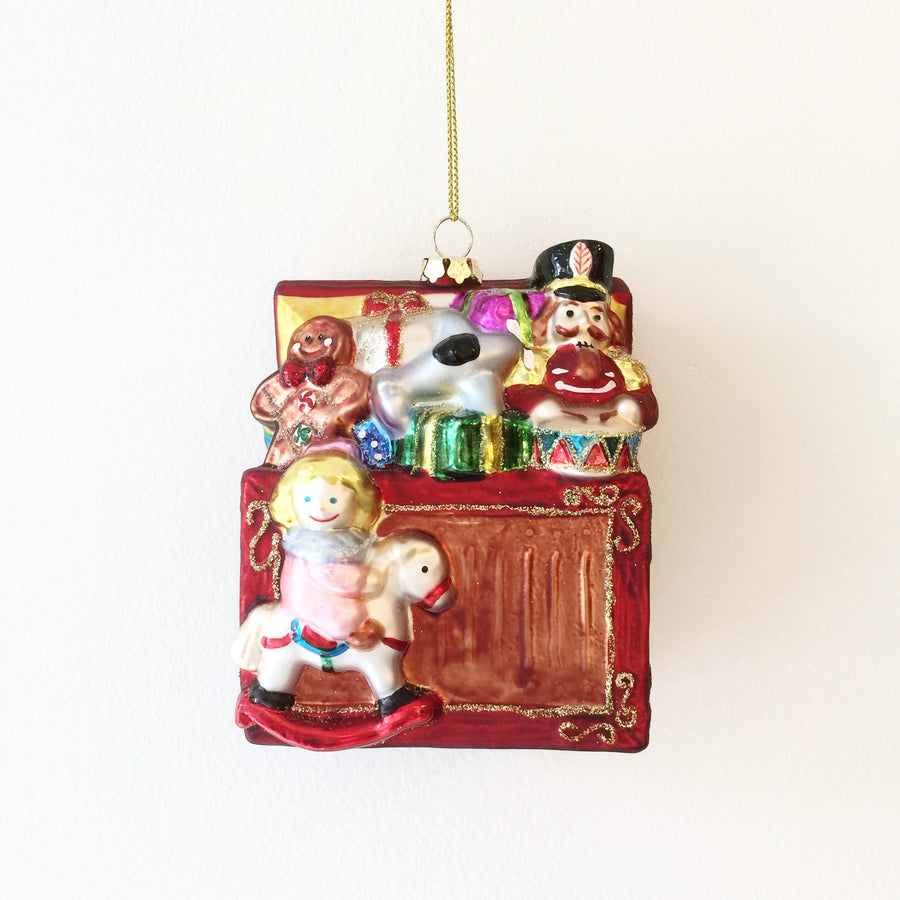 Glass Santa's Toy Chest Ornament