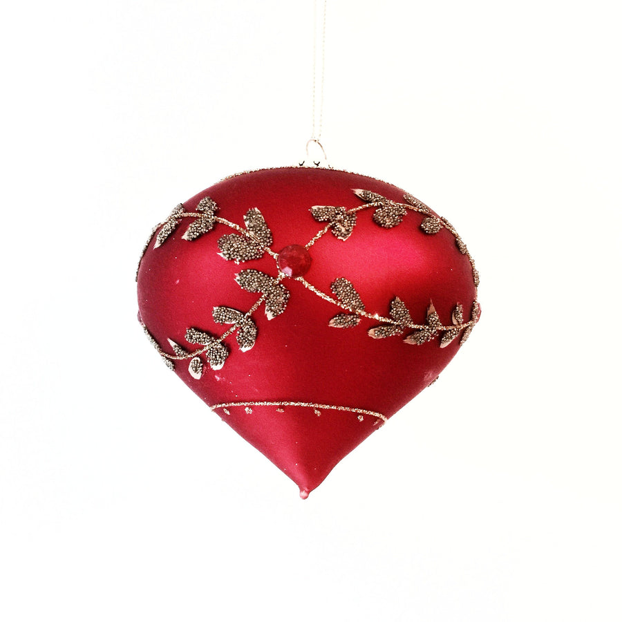 Red Glass Onion Ornament with Laurel Leaf Swags