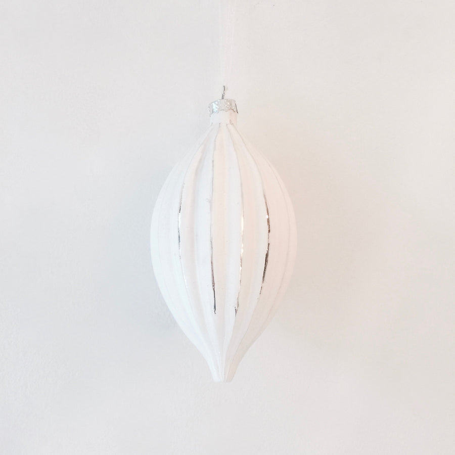 Matte White Ridged Double Point Ornament