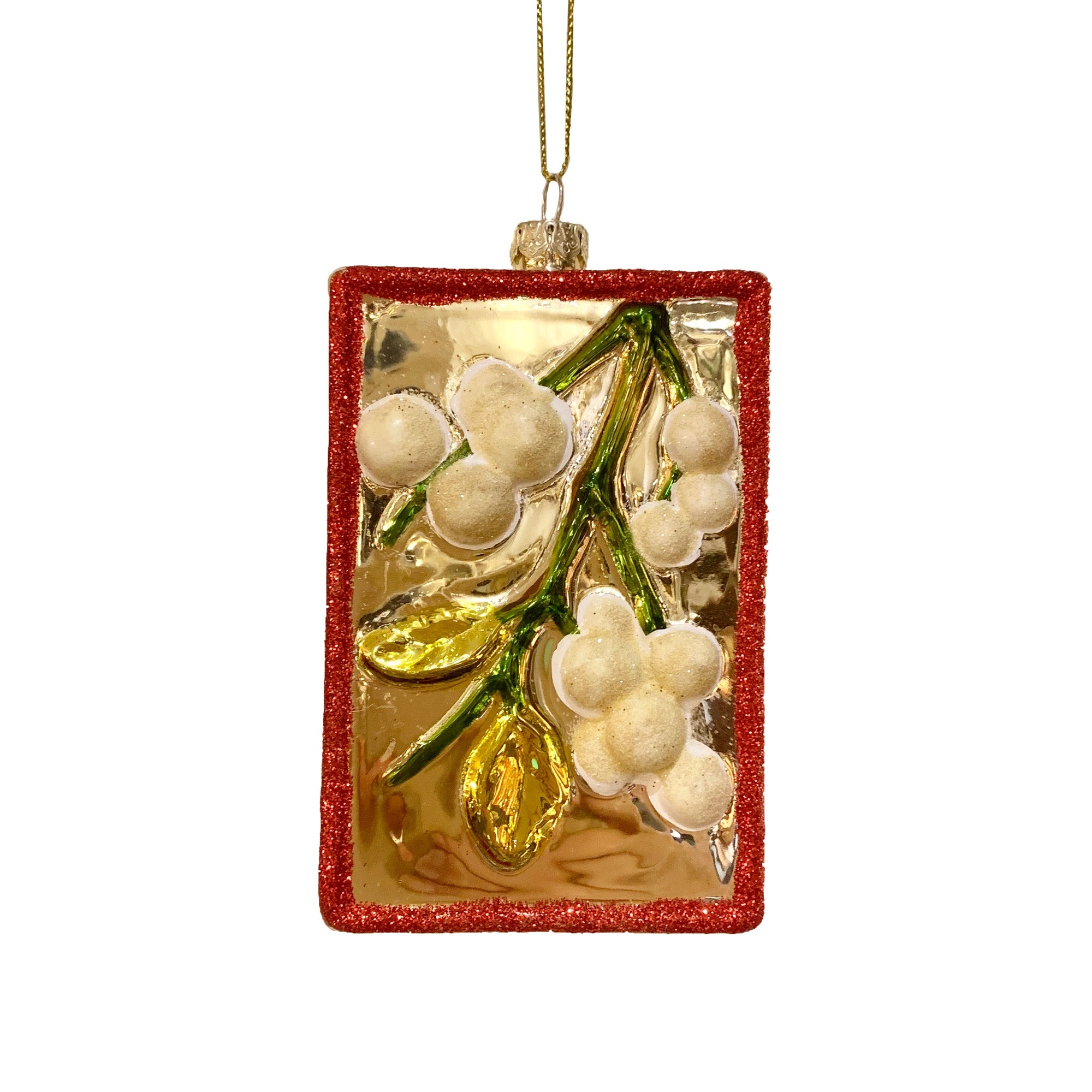 Rectangular Glass Mistletoe Ornament  | Putti Christmas Canada