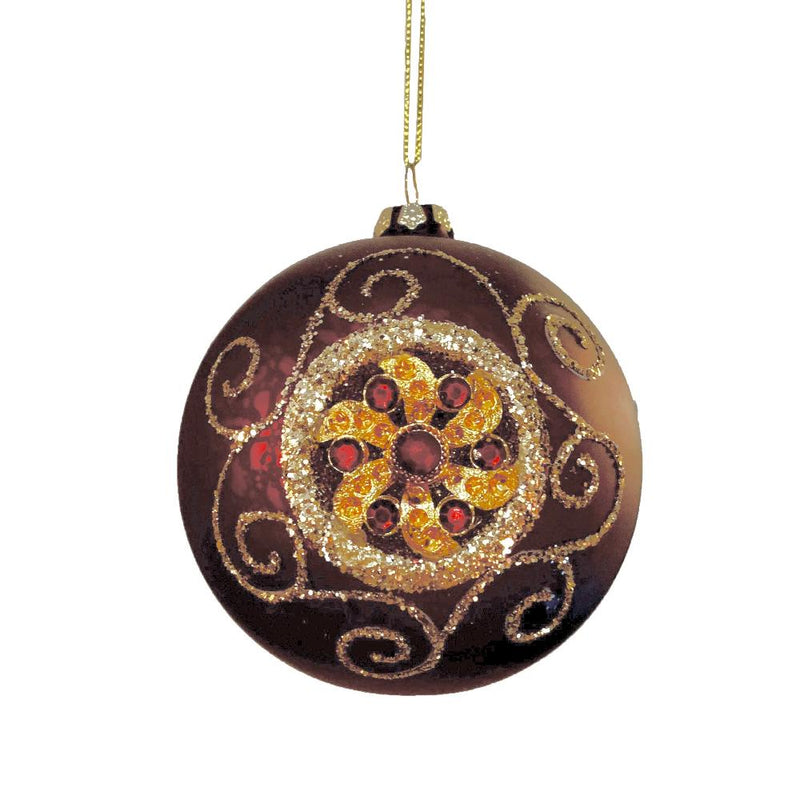 Burgundy and Gold Baroque Glass Ball Ornament | Putti Christmas Canada