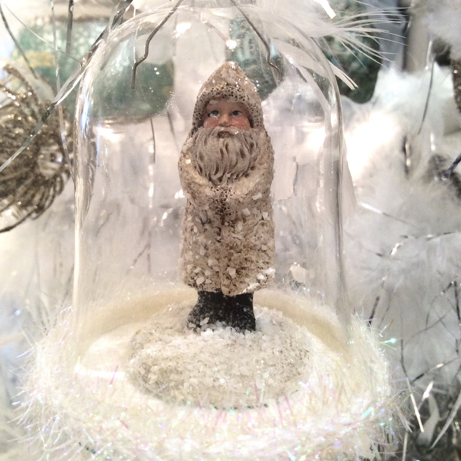 Pastel Frosted Santa Glass Bell Ornament