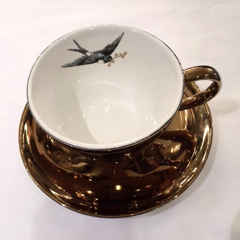 Miss Etoile Gold Oversized Tea Cup with Bird -  Party Supplies - Miss Etoile - Putti Fine Furnishings Toronto Canada - 4