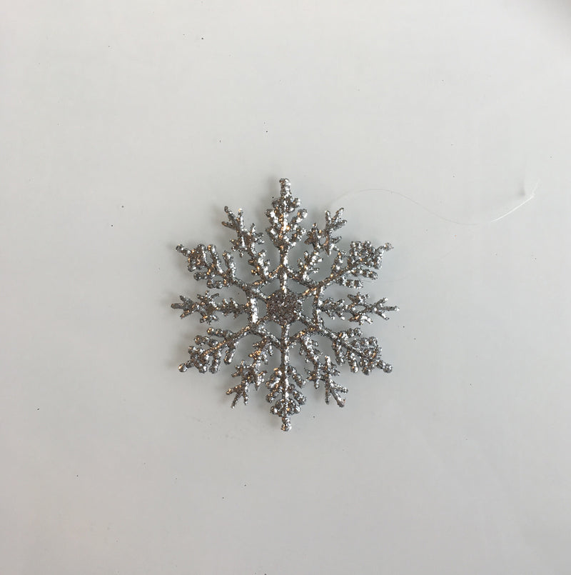 Silver Glittered Snowflake Ornament - Small, CB-Creative Bag, Putti Fine Furnishings