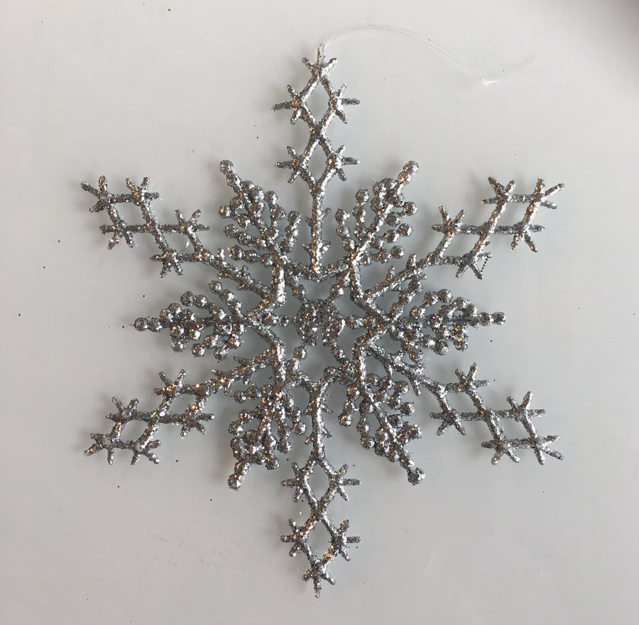 Silver Glittered Snowflake Ornament - Large