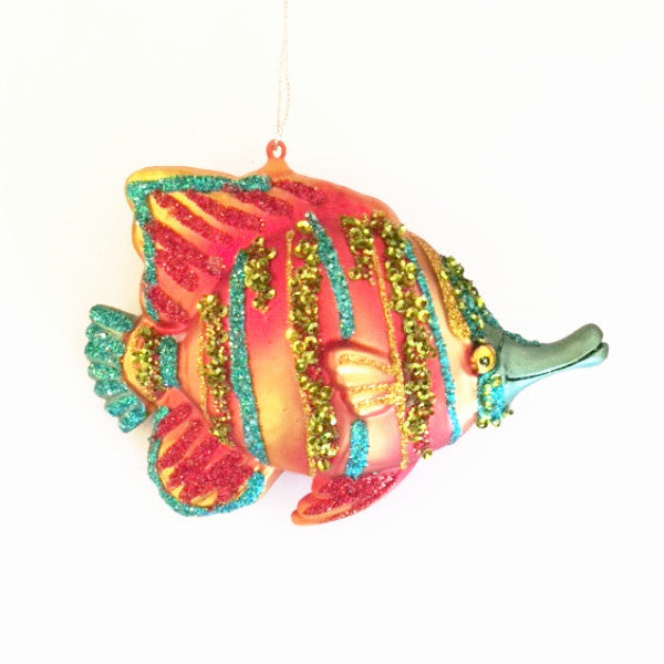 Jim Marvin Tropical Fish Ornament - Orange and Blue