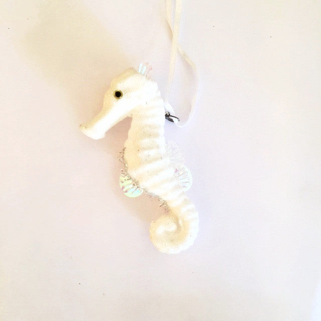 Frosted White Seahorse Ornament