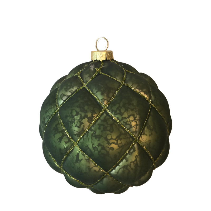 Mottled Green Quilted Ornament | Putti Christmas Canada