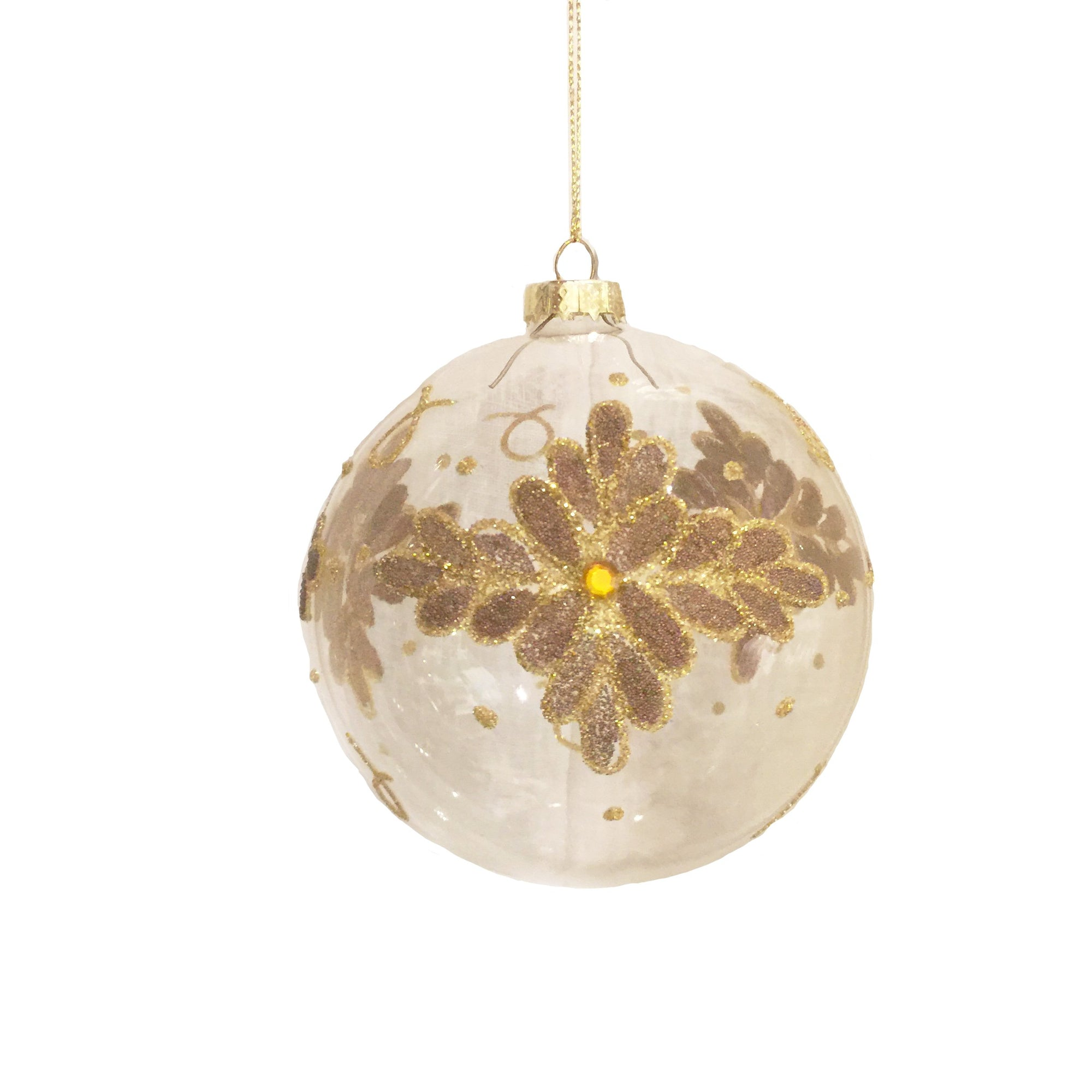 Clear Glass Ornament with Gold Glitter Flowers