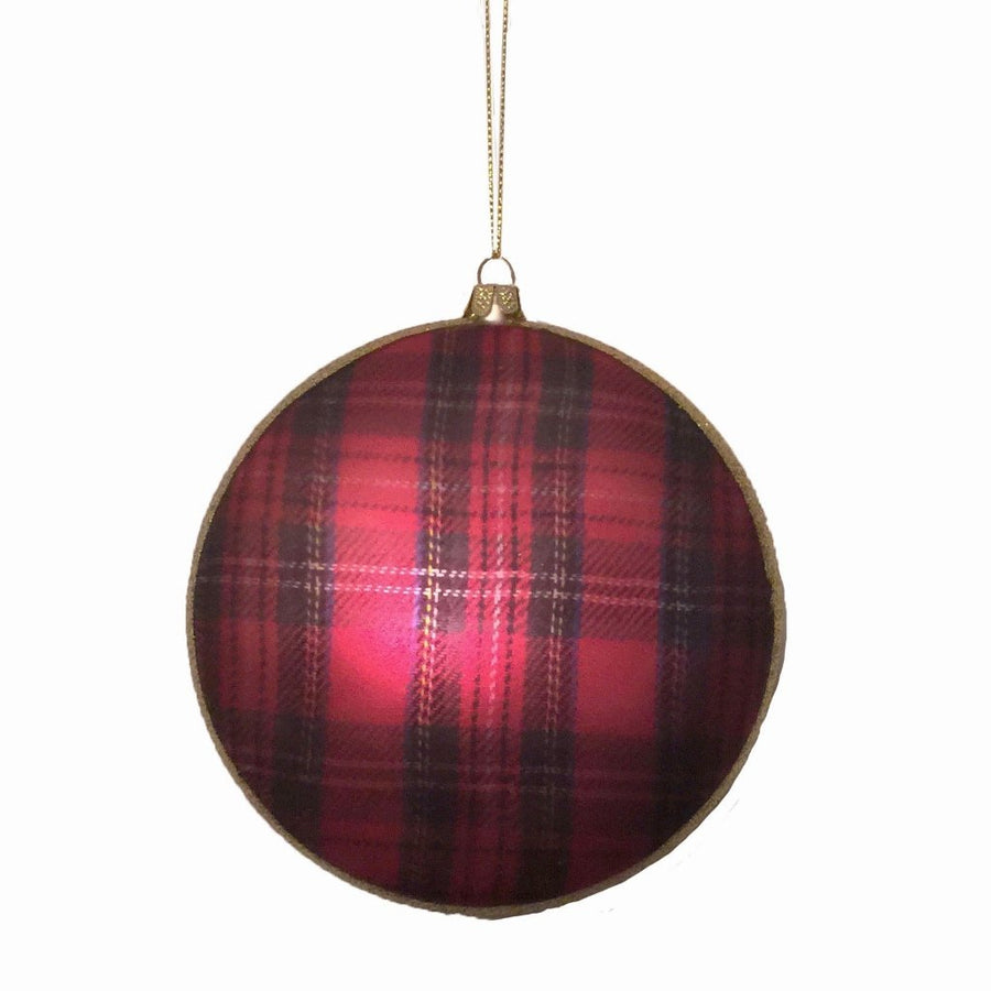 Red Plaid Glass Disc Ornament