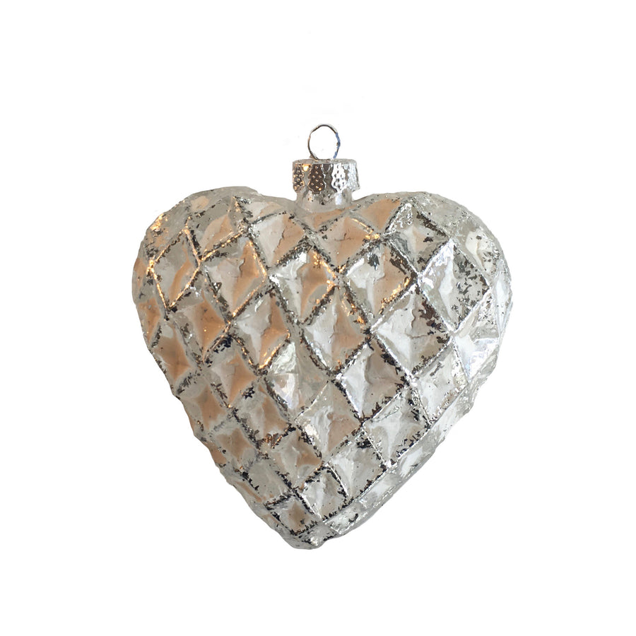 Matte White Honeycomb Glass Heart Ornament