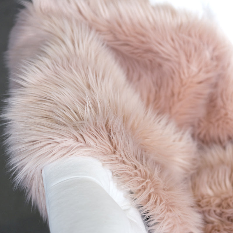 Faux Fur Hide Throw - Blush, SIF-Style in Form, Putti Fine Furnishings