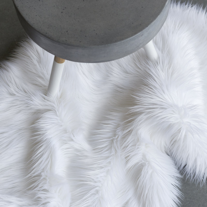 Faux Fur Hide Throw - White