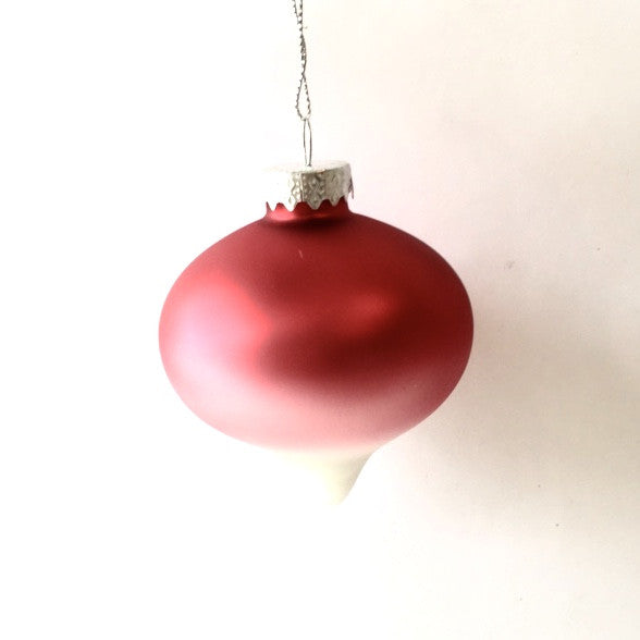 Raspberry Red Ombre Matte Satin Glass Ornament - Onion -  Christmas Decorations - Christmas Tradition - Putti Fine Furnishings Toronto Canada