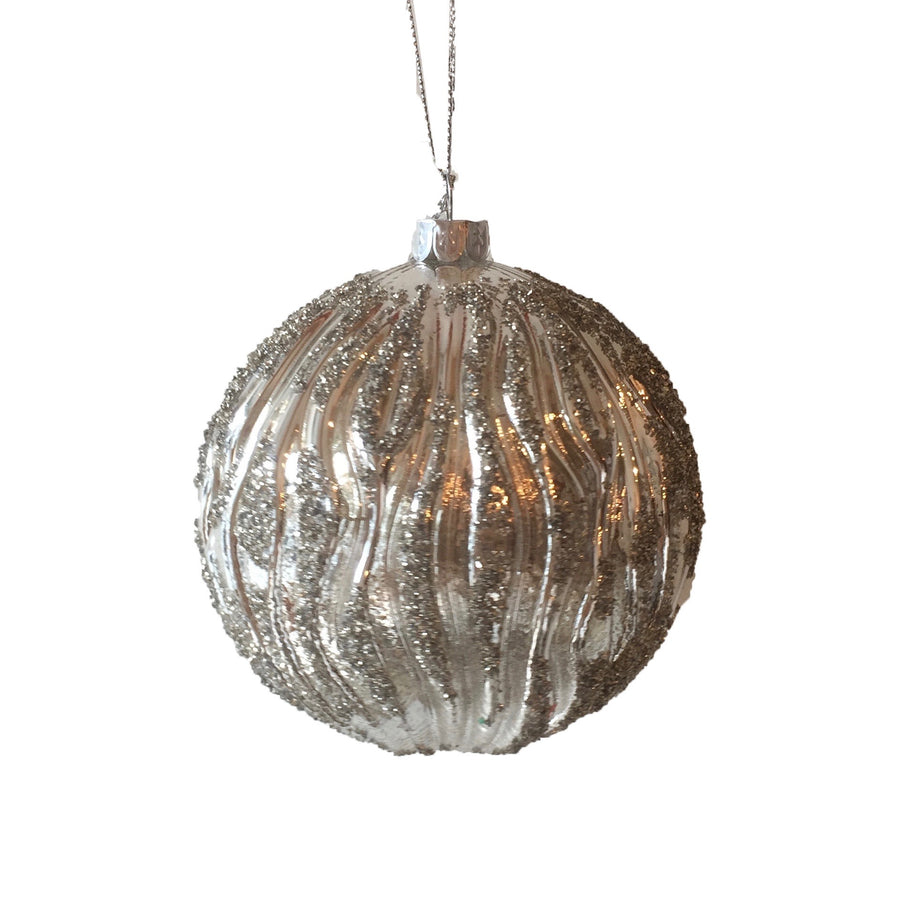 Silver Rippled Glass Ball Ornament