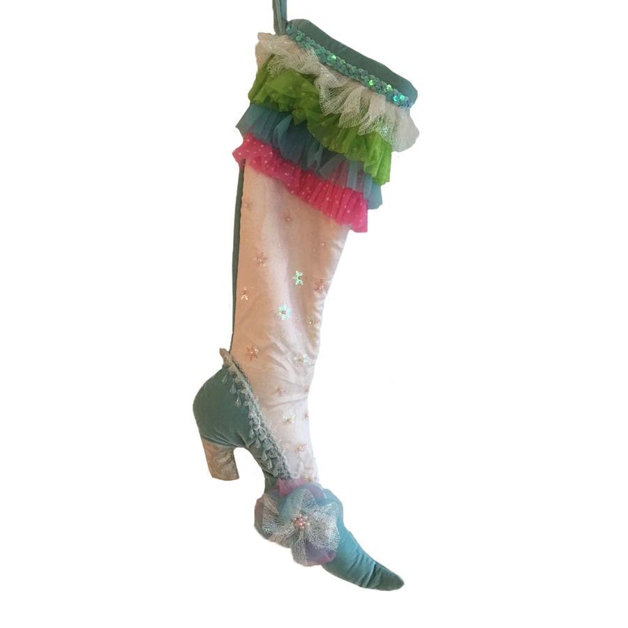 Rainbow Tulle Ruffle Velvet Boot Stocking