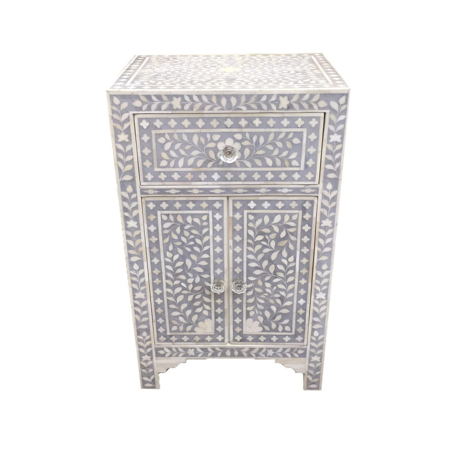 Bone Inlay Bedside Cupboard - Grey