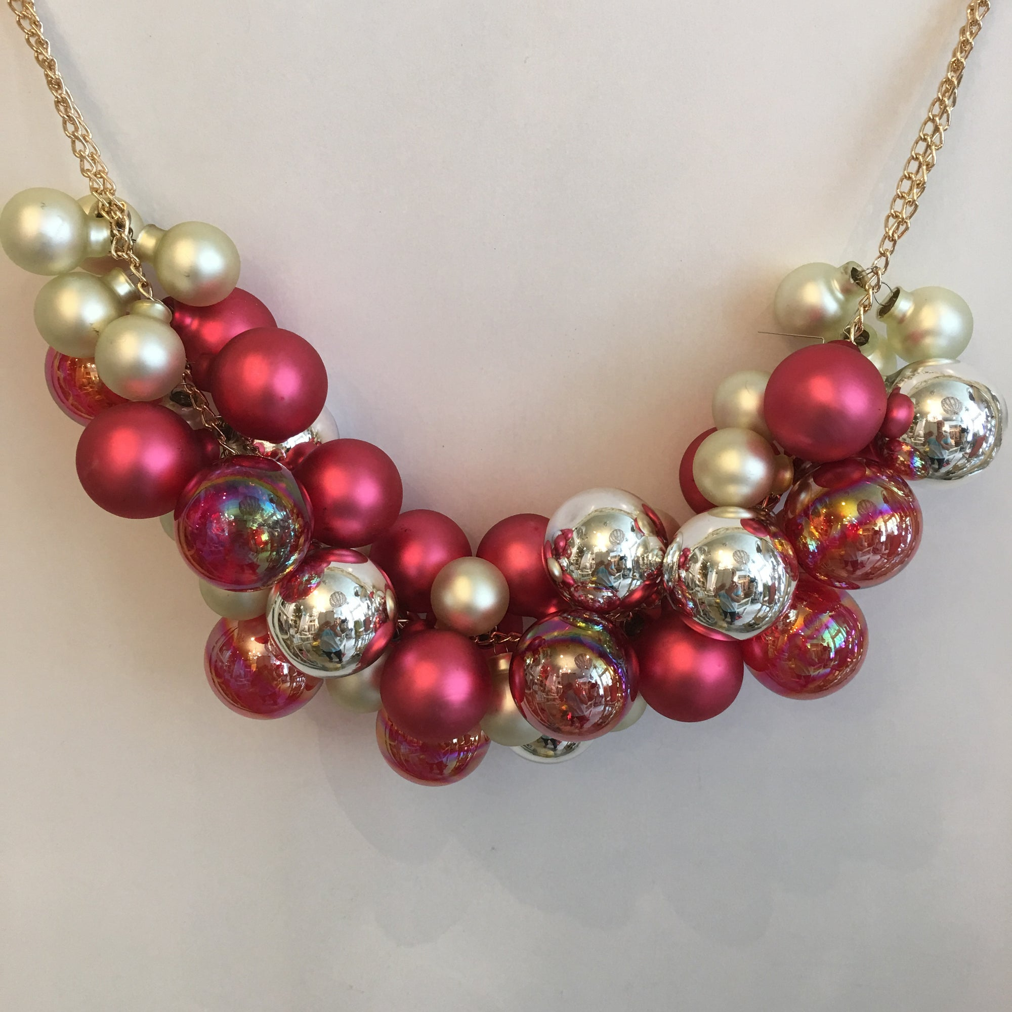 Jim Marvin Glass Ball Swag Garland - Pink