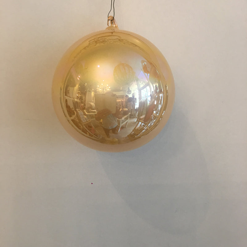 "Jim Marvin ""Pearl"" Glass Ball Ornament - Pale Gold"