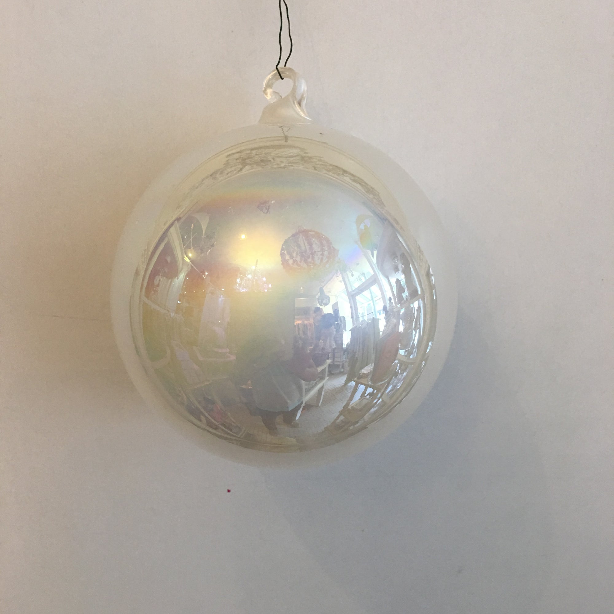 "Jim Marvin ""Pearl"" Glass Ball Ornament - Ivory"