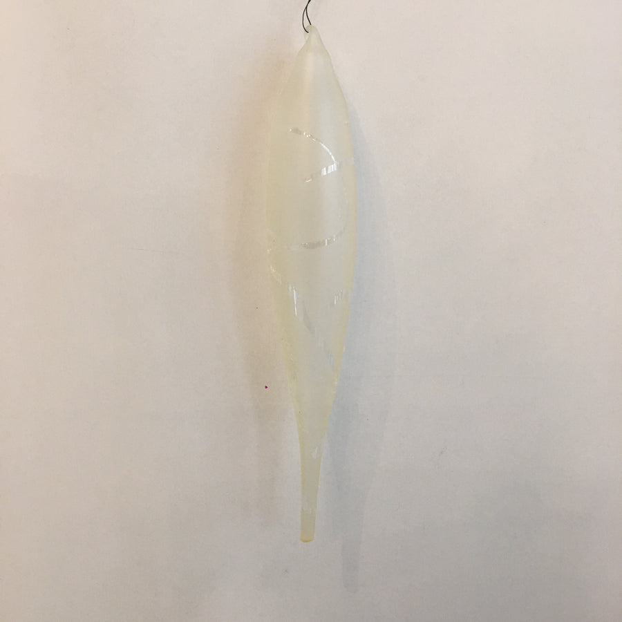 "Jim Marvin ""Winter Twig"" Glass Icicle Ornament -Cream"
