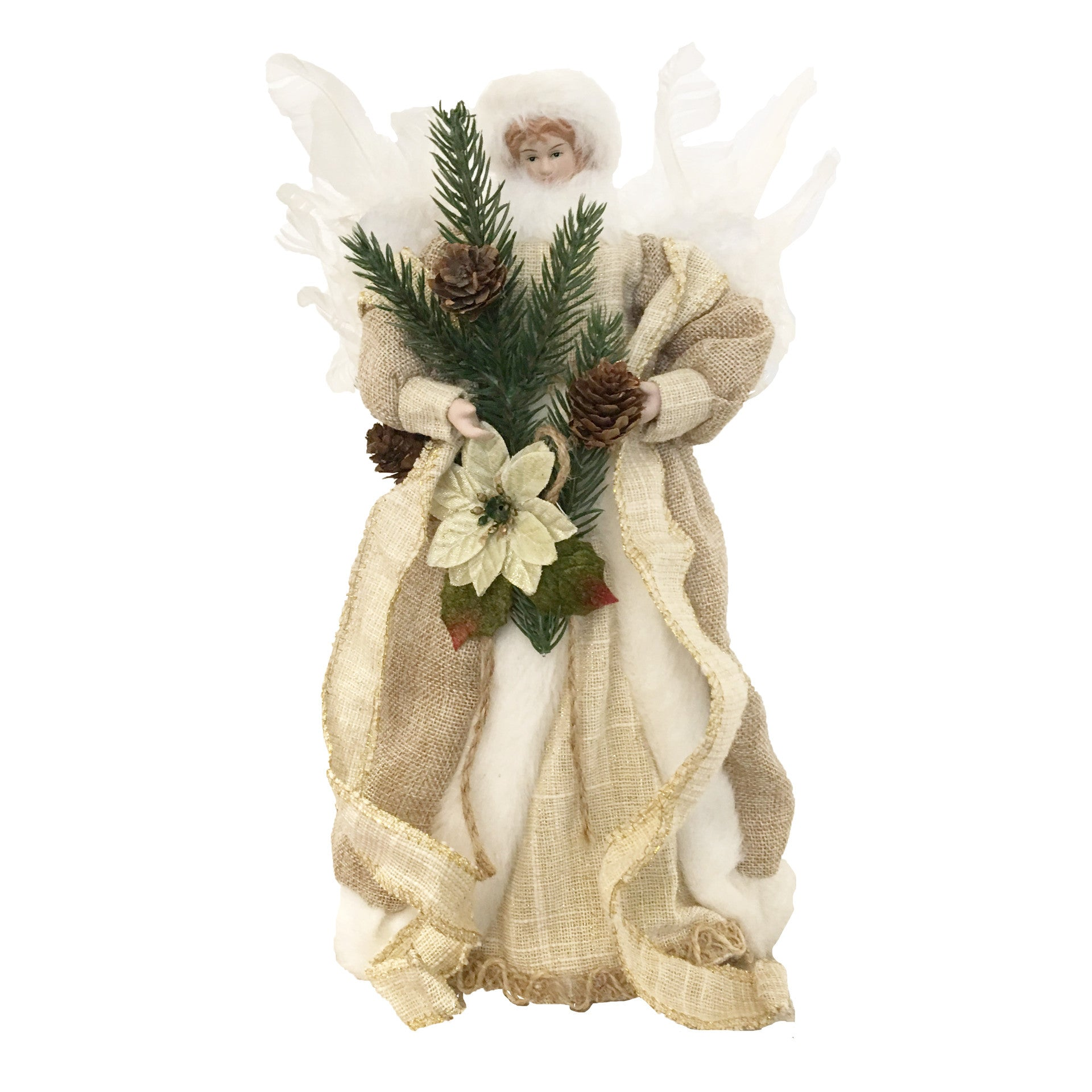 Burlap Angel with Feather Wings, CT-Christmas Tradition, Putti Fine Furnishings