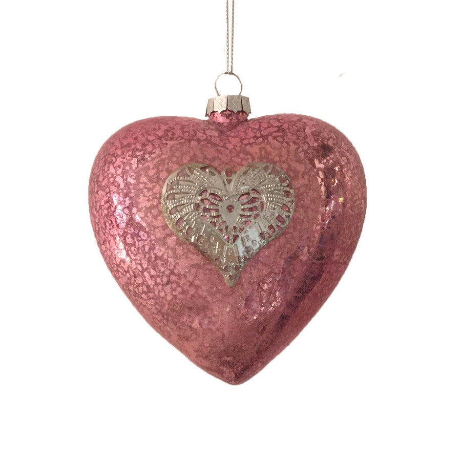 Pink Mottled Glass Heart Ornament