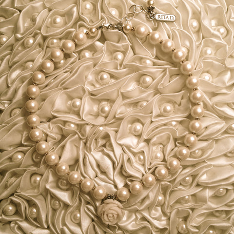 Pearl & Rose Necklace by Rita D -  Necklace - Rita D - Putti Fine Furnishings Toronto Canada - 1