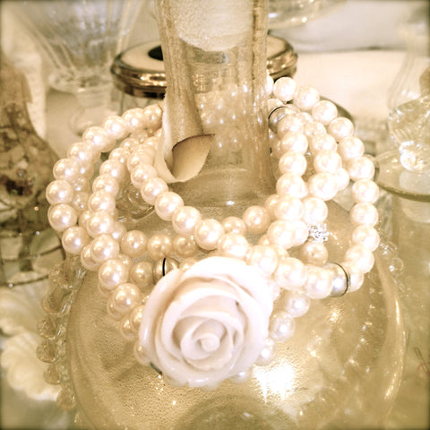 Pearl & Rose Bracelet by Rita D -  Jewelry - Rita D - Putti Fine Furnishings Toronto Canada - 1