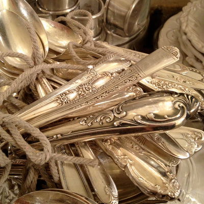 Vintage Silver Plate 5pc Place setting, Antique, Putti Fine Furnishings