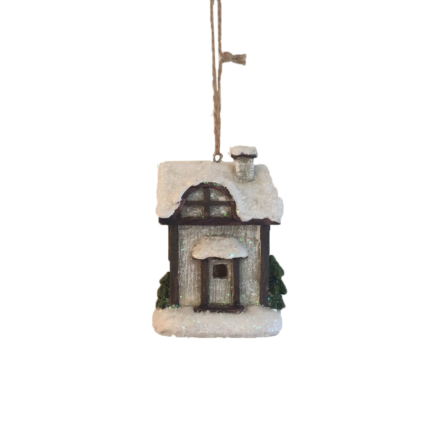 Small Cabin Ornament with LED Light