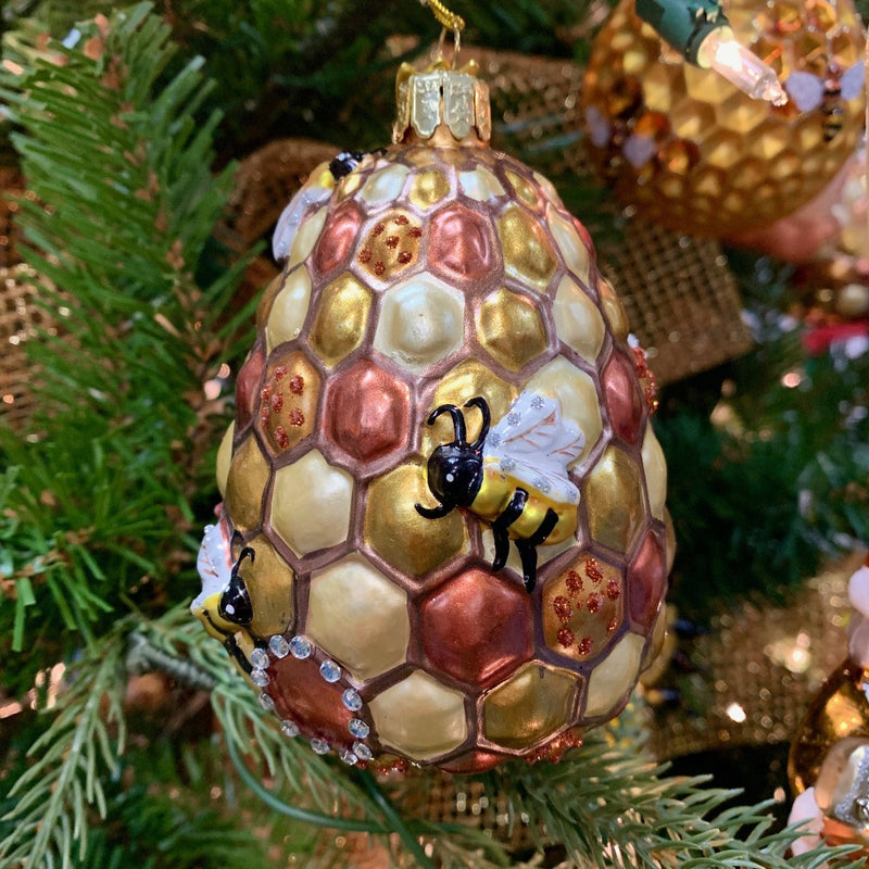Kurt Adler Noble Gems Bee Hive Glass Ornament | Putti Christmas Decorations