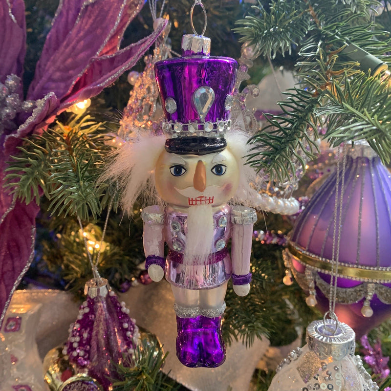 Kurt Adler Royal Splendor Purple Nutcracker Ornament | Putti Decorations