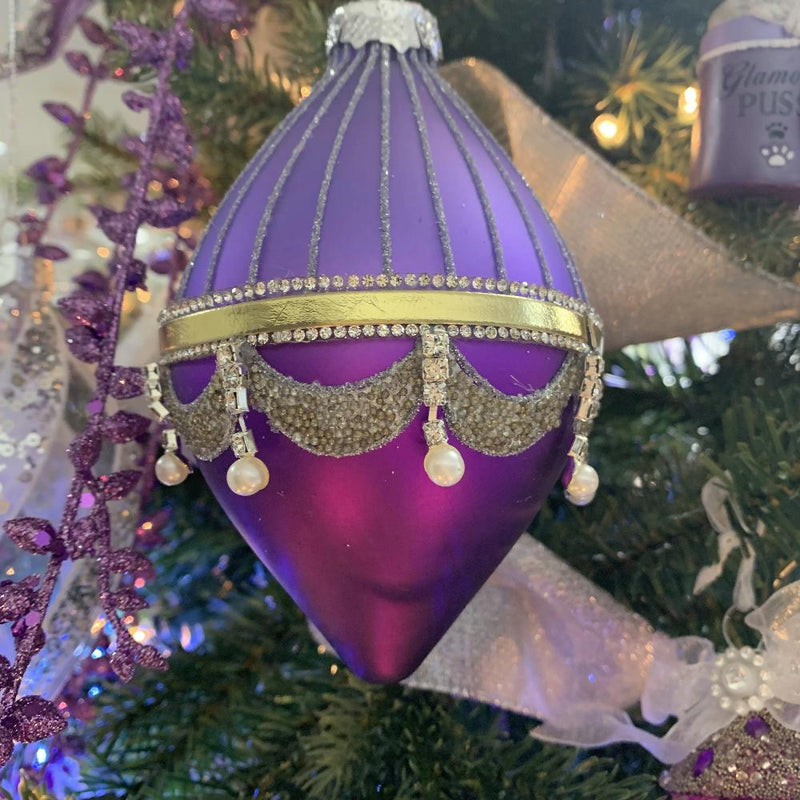Kurt Adler Royal Splendour Purple Glass Double Point Ornament | Putti Decorations