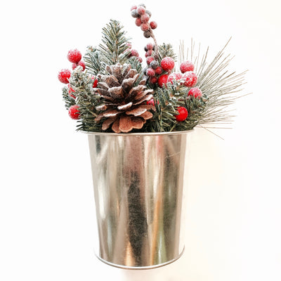 Red Berries and Greenery in Tin Pot
