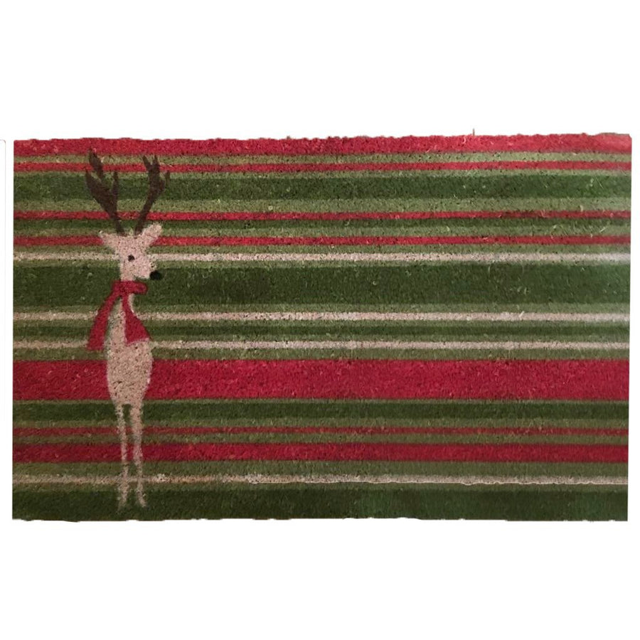 Red & Green Stripe Reindeer Coir Doormat